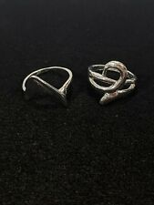 Swirl V Size 7?5 And 8.5 Set Of 2 Silver Tone Abstract Rings