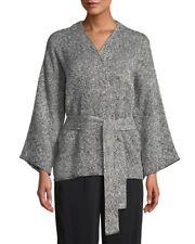 Eileen Fisher Black Handwoven Peruvian Cotton Bracelet Sleeve Jacket S NWT $328