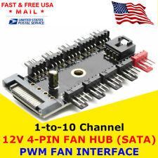 Fan 1 to 10 Channel Hub 12V 4Pin Power Supply Splitter Adapter PC Fan PWM SATA