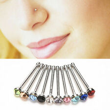 10pcs Crystal Rhinestone Nose Ring Bone Stud Stainless Body Piercing Jewelry RMA