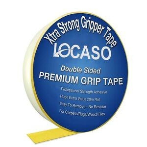 Double Sided Carpet Rug Gripper Tape Extra Strong Ultimate Grip Strength 20M UK