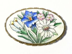 Antique Enamel Brooch with Floral Spray Pattern a/f