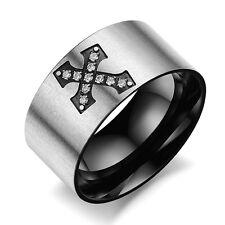 Men's Unisex Stainless Steel Titanium Ring Plain Black Zirconia Size 10 L52