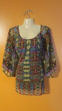 Women's XL Multi Color Abstract Tribal Peasant Style Shirt Top Layer Unique Cute