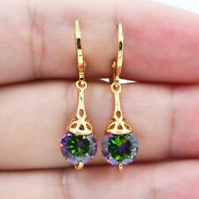 18K Yellow Gold Filled Mystical Rainbow Topaz Hollow Round Women Earrings