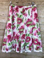 Dress Barn Sz 10 Pink Bloom Floral Flare Skirt Women's