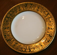 "Wedgwood FLORENTINE W4170 Bread Plate 6"" Bone China Drk Green Gold Rim ENGLAND"