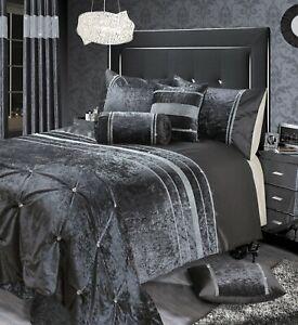 Rienzo Luxury Sparkly Plush Diamante Crushed Velvet Duvet Cover & Pillowcase Set