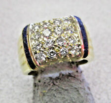 Must See Estate 18k Gold VS1-G Diamond Ring with Lapis Band Size 6   MAKE OFFER