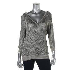 INC 8135 Womens Green Metallic Cold Shoulder Chevron Pullover Top Shirt S BHFO