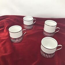 Verocruz Porcelain Expresso / Demitasse Cups With Silver-plate Cup Holders
