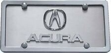 ACURA 3D  Emblems on Brushed Stainless Steel License Plate + Chrome Frame
