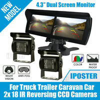 "4.3"" Dual Screen Monitor + 2x CCD Reversing Camera for Truck Trailer Caravan Kit"