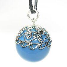 NEU 90cm Leder HALSKETTE + 2cm KLANGKUGEL Blau Ball Qi Gong KUGEL Collier
