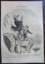 DAUMIER, LITHOGRAPHIE ORIGINALE, LES BONS BOURGEOIS N°24 / ALPINISME / PYRENEES
