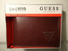 Guess Los Angeles RFID Men Bifold  Wallet W/ Valet Brown Leather MSRP$42.00 New!