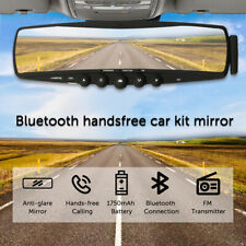 Bluetooth Car Kit Mirror Built-in Mic & Speakers Fm transmitter Easy Install