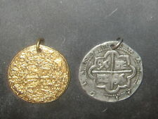 LOT OF 2 PEWTER SILVER GOLD TONE COIN SPANISH PIRATE CHARM PENDANTS NECKLACES