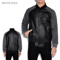 BRAVE SOUL MENS BLACK/CHARCOAL  NEW JERSEY BASEBALL JACKET RRP £39 SAVE 50% OFF
