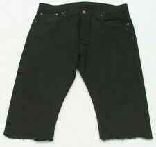 """Levis 501 Black Jean Shorts 35"""" X 17"""" Flat Front Cotton Man's Casual Button Fly"""