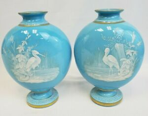 Rare, Antique pair bristol glass vases, light blue, Marsh birds scene