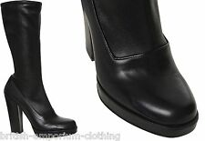 PRADA Black Calzature Donna Soft Luxury Leather Boots Shoes UK7 EU40 US10 BNiB