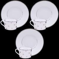 """Limoges France J. Seignolles """"Confettis"""" White Tea Cup & Saucer Set of 3"""
