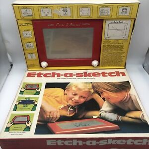 Vintage 1960 Etch-a-Sketch with Original Box Retro Complete Tested Fast P&P!