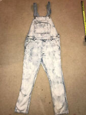 "TOPMAN Dungaree Acid Wash Overalls ~ US and UK LARGE ~ 34-36' waist 30"" inseam"