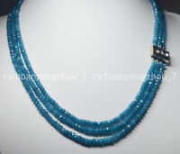 3 Rows Faceted 2X4mm Light Blue Aquamarine Rondelle Gems Beads Necklace 17-19''