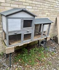 2Tier Wooden Grey, Rabbit Bunny Guinea Pig Hutch House Ramp Paw Hut Outdoor Cage