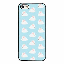 Cute White Bunny Pattern plastic phone case fits iPhone