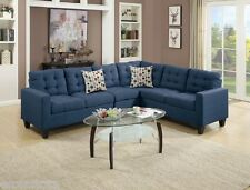 4pc Sectional Sofa Set Arm Loveseat Wedge Armless Chair Couch Navy Polyfiber