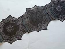 "HALLOWEEN Spiderweb Cut Outs Black Vinyl Table Runner 14"" x 53"" Gothic NEW"