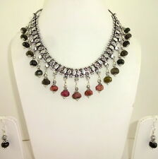 NECKLACE EARRINGS NATURAL TOURMALINE GEMSTONE FACETED BEADED HANDMADE 100 GRAMS
