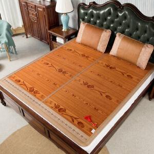 bamboo mat + rattan pillowcases folding summer sleeping mat for bed double faces