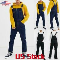 Men's Denim Bib Pants Cargo Trousers Casual  Overalls Suspender Jeans Jumpsuits