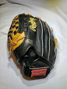 VINTAGE RAWLINGS PP224 BLACK LEATHER BASEBALL GLOVE LHT 11in Very Good Pre-Owned