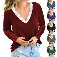 Women Lace Deep V Neck Long Sleeve T Shirt Loose Solid Blouse Casual Tunic Tops