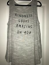 WOMEN'S TANK TOP SHIRT TUNIC-OLD NAVY-GRAY-KINDNESS LOOKS AMAZING-SIZE XL-NWT