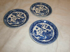 3 VINTAGE JAPANESE WILLOW BLUE & WHITE SAUCERS - 15 CMS ACROSS
