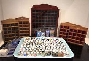 THIMBLES Collection job Lot x181 China Wood Pewter + 5 Display Cases worldwide