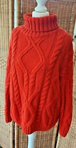 Primark Red Roll High Neck Cable Knit Oversized Slouch Jumper Small 10 12
