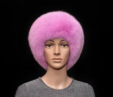 Saga Furs Flamingo Pink Shadow Fox Fur Handmade Beanie Beret Hat