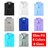 Berlioni Italy Slim-Fit Solid Mens Dress Shirt Modern Fitted 8 Colors 8 Sizes