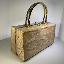 Vintage Coblentz box purse with gold tone handles Eel skin look Tan/white