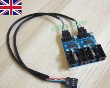 Separador de encabezado de la placa madre USB 9P 9Pin 1 a 4 multiplicador puerto de cable de extensión