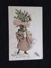 A700 1902 ragazza con albero Natale doni FP colori per Rotondi annullo bandiera
