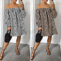 UK Womens Printed Puff Sleeve Mini Dress Ladies Square Neck Party Long Tops 8-26