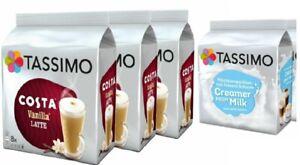 TASSIMO Mix  Coffee T Discs Pods (3 Costa Vanilla Latte + 2 Creamer Milk) Pack 5